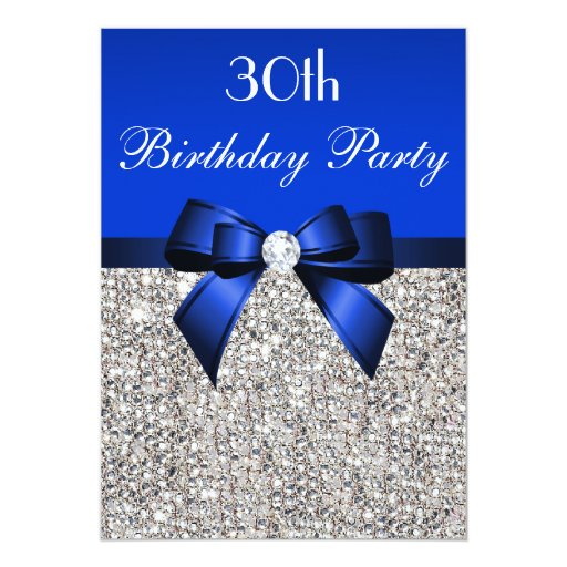 30th Birthday Royal Blue Bow Silver Sequins Card | Zazzle