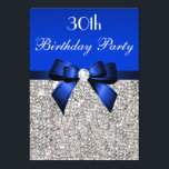 """30th Birthday Royal Blue Bow Silver Sequins Invitation<br><div class=""""desc"""">Woman's 30th birthday party invitations personalized custom template. Elegant custom royal blue thirtieth / thirty / 30 years old Birthday Party celebration invitations for women with a pretty silver printed sequins pattern, cute royal blue bows and ribbons images and printed image bling jewels diamonds / rhinestones. These sophisticated, fashionable, feminine,...</div>"""