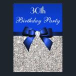"30th Birthday Royal Blue Bow Silver Sequins Invitation<br><div class=""desc"">Woman"