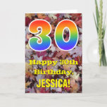"[ Thumbnail: 30th Birthday; Rustic Autumn Leaves; Rainbow ""30"" Card ]"