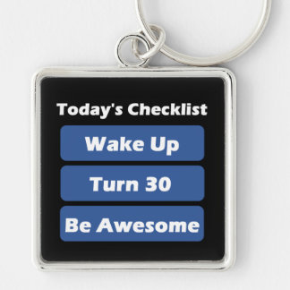 30th Birthday Silver-Colored Square Keychain