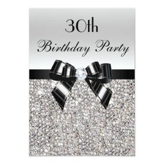 30th Birthday Silver Sequin Black Bow Diamond 5x7 Paper Invitation Card