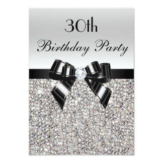 30th Birthday Silver Sequin Black Bow Diamond Card