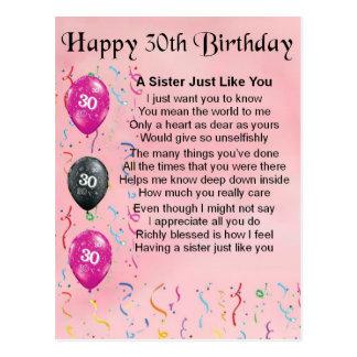 30th Birthday Sister Poem Postcard