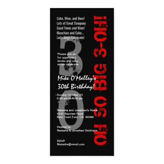 30th Birthday So Big Black White Red Tall S431 Card