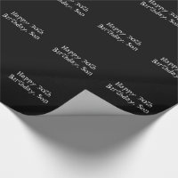 30th Birthday, 'Son' black and white gift wrap. Wrapping Paper