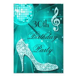 30th Birthday Sparkle Heels and Teal Disco Ball Card