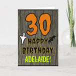 """30th Birthday: Spooky Halloween Theme, Custom Name Card<br><div class=""""desc"""">The front of this scary and spooky Hallowe'en birthday themed greeting card design features a large number """"30"""" and the message """"HAPPY BIRTHDAY, """", plus a personalized name. There are also depictions of a ghost and a bat on the front. The inside features a personalized birthday greeting message, or could...</div>"""