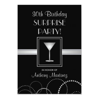 30th Birthday Surprise Party Silver & Black 5x7 Paper Invitation Card