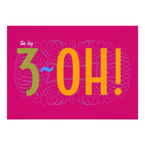 "30th Birthday - the Big 3-OH! 5"" X 7"" Invitation Card | Zazzle"