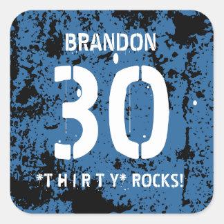30th Birthday Thirty Rocks BLUE Grunge Pattern F3Z Square Sticker