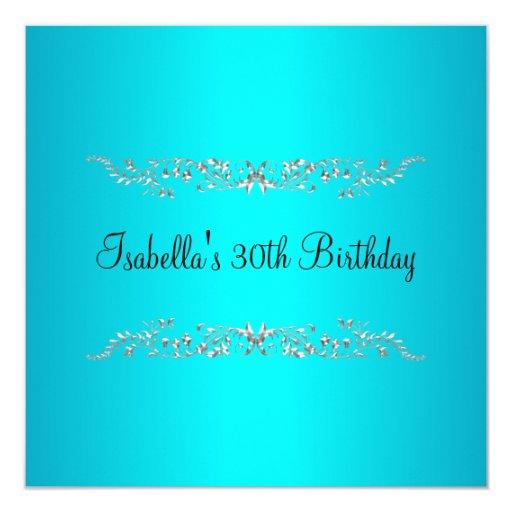 30th Birthday Turquoise Black & Silver Floral Custom Invitation