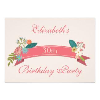 30th Birthday Vintage Flowers Pink Banner Card