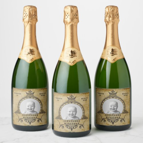 30th Birthday Vintage Retro Template Your Photo Champagne Label