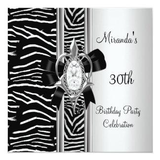30th Birthday Wild Animal Print Diamond Bow Card