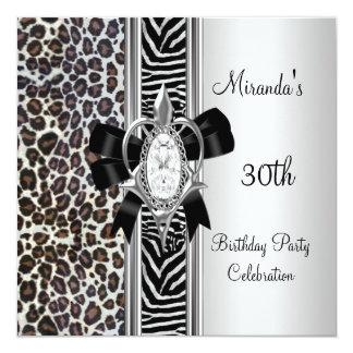 30th Birthday Wild Animal Print Diamond Bow Announcement