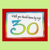 30th Birthday Words of Wisdom Card