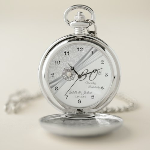 30th Diamond Pearl Wedding Anniversary Design Pocket Watch