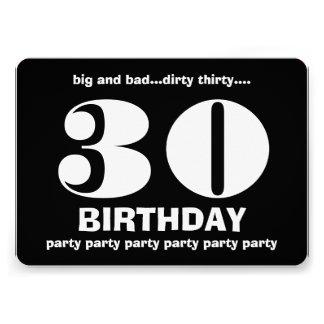 30th Dirty Thirty Birthday Black and White V10 Invitations