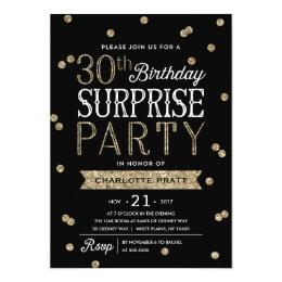 30th birthday invitations announcements zazzle 30th glitter confetti surprise party invitation filmwisefo Images