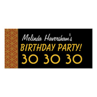 30th Gold and Black Birthday Collection Posters
