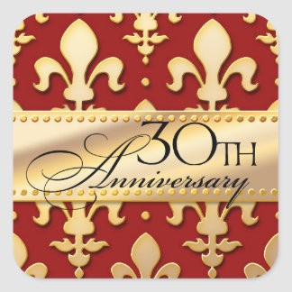 30th, Gold Tone Wedding Anniversary, Fleur de Lis Square Sticker