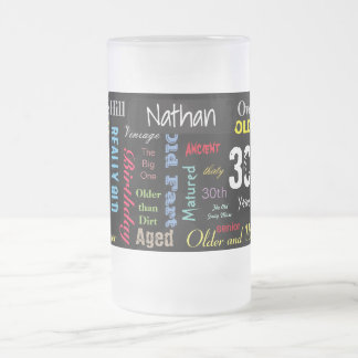 30th Happy Birthday   Milestone Frosted Glass Beer Mug