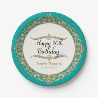 30th Happy Birthday Party Celebration Jewel Look Paper Plate
