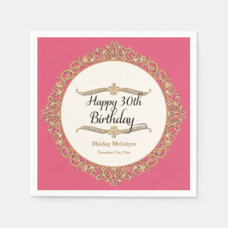 30th Happy Birthday Party Celebration Round Decor Paper Napkin