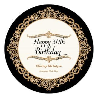 30th Happy Birthday Party Celebration Round Invite