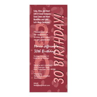 30th Modern Birthday Burgundy Tall Card