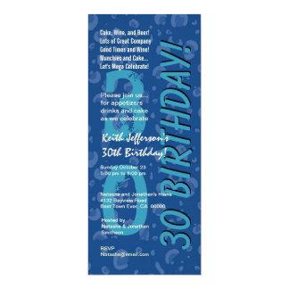 30th Modern Birthday Hues of Blue Camo Confetti Card