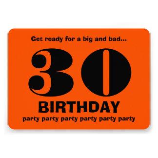 30th Modern Birthday Party Orange and Black V12 Personalized Invitation