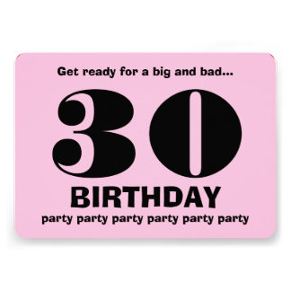 30th Modern Birthday Party Pink and Black V11 Custom Invite