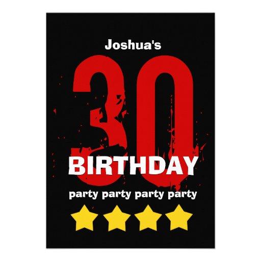 30th Modern Birthday Party Red Gold Black W7C2 Invite