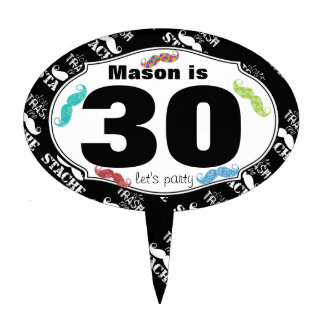 30th Mustache Hipster Birthday Cake Topper