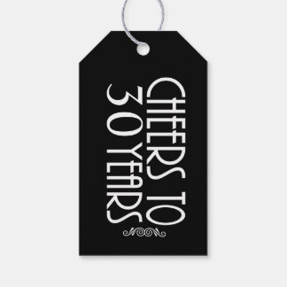30th or ANY AGE Black Birthday Gift Tag Pack Of Gift Tags