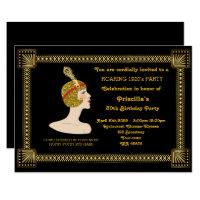 30th or any,Birthday Party,Gatsby chic,black gold Invitation