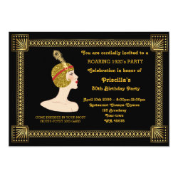 30th or any,Birthday Party,Gatsby chic,black gold Invitation