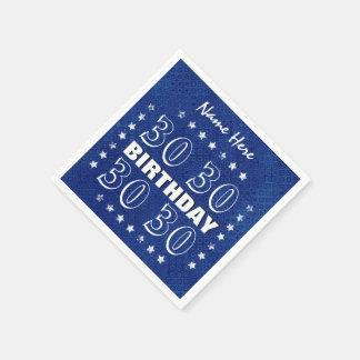 30th or Any Year Birthday Grunge Stars Blue L30Z Standard Cocktail Napkin