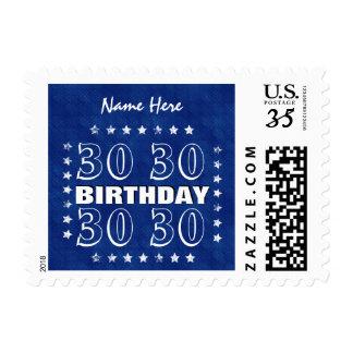 30th or Any Year Birthday Grunge Stars Blue L30Z Stamp