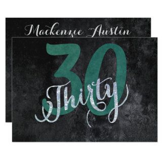 30th Party Green and Black Faux Velvet Matte Card