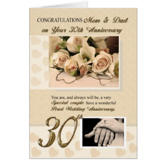 30th Pearl Anniversary Mom and Dad Greeting Card