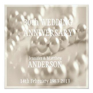 30th Pearl Wedding Anniversary Celebaration 5.25x5.25 Square Paper Invitation Card