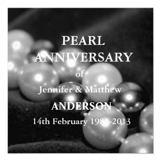 30th Pearl Wedding Anniversary Celebarationll(B&W) Personalized Announcements