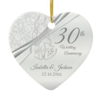 30th Pearl Wedding Anniversary Ceramic Ornament