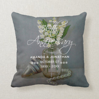 30th Pearl Wedding Anniversary Commemorative Throw Pillow