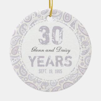30th Pearl Wedding Anniversary Paisley Monogram Ceramic Ornament