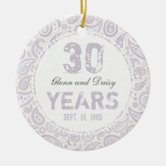 30th Pearl Wedding Anniversary Paisley Monogram Double-Sided Ceramic Round Christmas Ornament