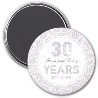 30th Pearl Wedding Anniversary Paisley Pattern 3 Inch Round Magnet